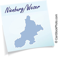 Map of Nienburg-Weser as sticky note in blue