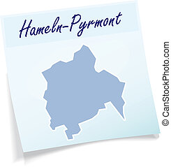 Map of Hameln-Pyrmont as sticky note in blue