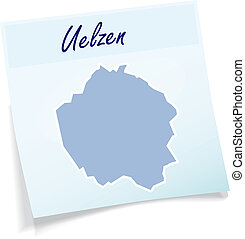 Map of Uelzen as sticky note in blue