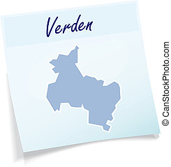 Map of Verden as sticky note in blue