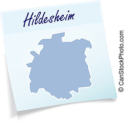 Map of Hildesheim as sticky note in blue
