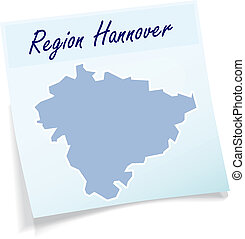 Map of Hannover as sticky note in blue