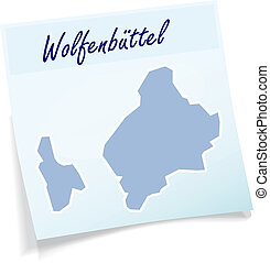 Map of Wolfenbuettel as sticky note in blue