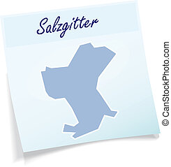 Map of salzgitter as sticky note in blue