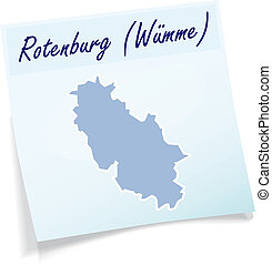 Map of Rotenburg as sticky note in blue
