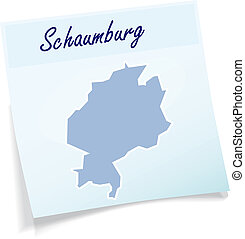 Map of Schaumburg as sticky note in blue