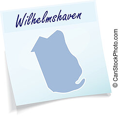 Map of Wilhelmshaven as sticky note in blue