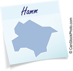Map of Hamm as sticky note in blue
