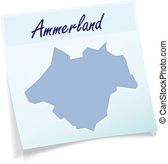 Map of Ammerland as sticky note in blue