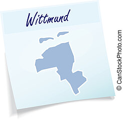 Map of Wittmund as sticky note in blue