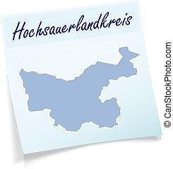 Map of Hochsauerlandkreis as sticky note in blue