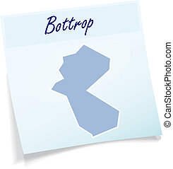 Map of Bottrop as sticky note in blue