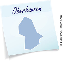 Map of Oberhausen as sticky note in blue