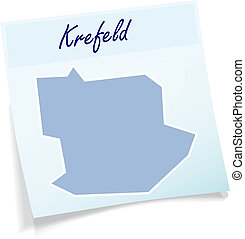 Map of Krefeld as sticky note in blue