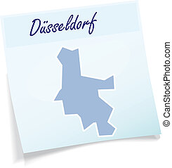 Map of Duesseldorf as sticky note in blue