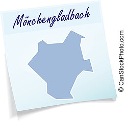 Map of Moenchengladbach as sticky note in blue