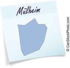 Map of Muelheim-an-der-Ruhr as sticky note in blue