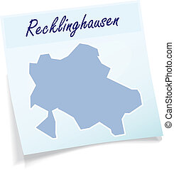 Map of Recklinghausen as sticky note in blue