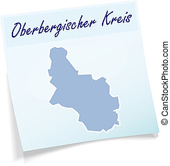 Map of Oberbergischer-Kreis as sticky note in blue