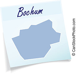 Map of Bochum as sticky note in blue