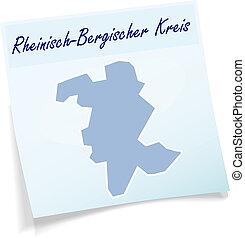 Map of Rheinisch-Bergischer-Kreis as sticky note in blue