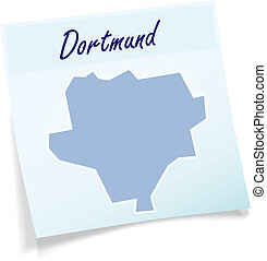 Map of Dortmund as sticky note in blue