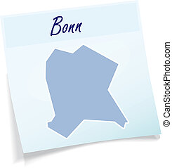 Map of Bonn as sticky note in blue