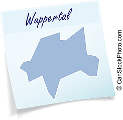 Map of wuppertal as sticky note in blue