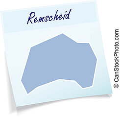 Map of remscheid as sticky note in blue