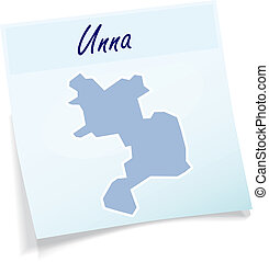 Map of Unna as sticky note in blue
