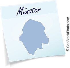 Map of Muenster as sticky note in blue