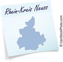 Map of Rhein-Kreis-Neuss as sticky note in blue