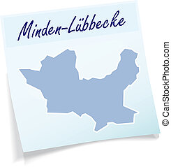 Map of Minden-Luebbecke as sticky note in blue