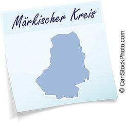 Map of Maerkischer-Kreis as sticky note in blue