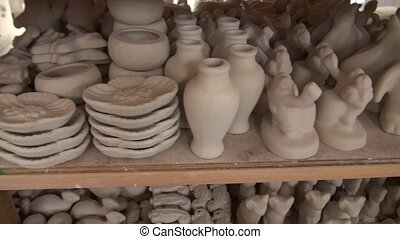clay objects figures, pottery - A collection of clay figures...