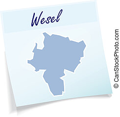 Map of Wesel as sticky note in blue