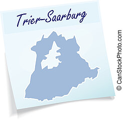 Map of Trier-Saarburg as sticky note in blue