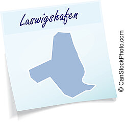 Map of Ludwigshafen-am-Rhein as sticky note in blue