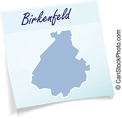 Map of Birkenfeld as sticky note in blue