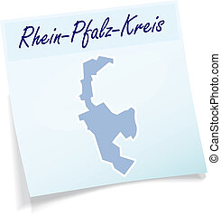 Map of Rhein-Pfalz as sticky note in blue