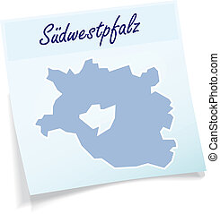 Map of Suedwestpfalz as sticky note in blue