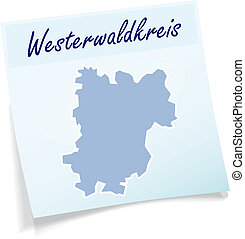 Map of Westerwaldkreis as sticky note in blue