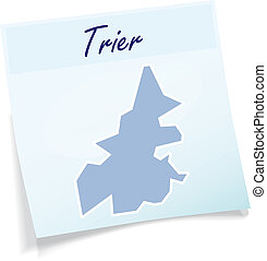 Map of Trier as sticky note in blue