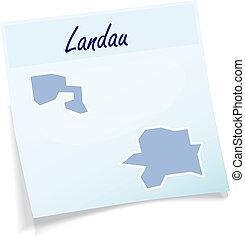 Map of Landau-in-der-Pfalz as sticky note in blue