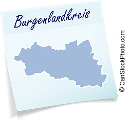 Map of Burgenlandkreis as sticky note in blue