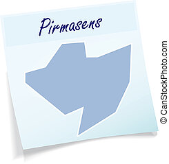 Map of Pirmasens as sticky note in blue