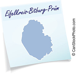 Map of Eifelkreis-Bitburg-Pruem as sticky note in blue