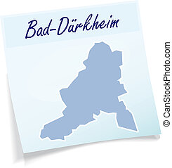 Map of Bad-Duerkheim as sticky note in blue
