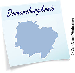 Map of Donnersbergkreis as sticky note in blue
