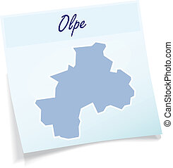Map of Olpe as sticky note in blue